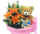 Teddy In Lily Basket