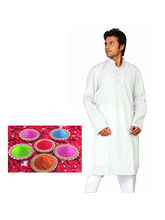 White Cotton Kurta Payjama Set With FREE Natural Gulal Pack