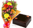 Mixed Flower Bunch With Cake