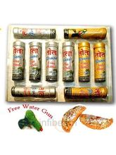 Set Of 10 Gold And Silver Tubes With Holi Sweets