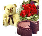 Teddy & Cake with Rose Bunch