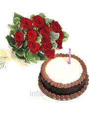 Cake with Rose Bunch
