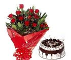 Bunch of 12 Roses & Black Forest Cake Flower 167