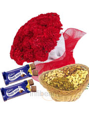 Carnation With Dryfruits and Chocolates