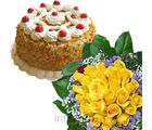 Cake With Yellow Roses Bunch