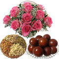 Gulabjamun With Roses and Dryfruits