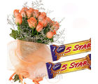 Orange Roses Bunch With 5 Star