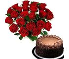 Fresh Red Roses & Chocolate Cake Flower Gift 191