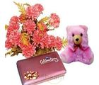 Delightful Chocolates with Artificial Chrysanthemums Bunch.