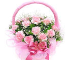 Pink Carnation Basket (Carnations)