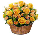 Yellow Flower Basket (Roses, Carnations)