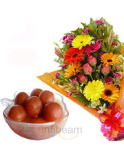 Gulabjamun With Roses Bunch