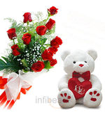 Teddy With Roses Bunch