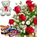 Roses Teddy n Chocolates