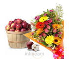 Mixed Flower With Apple Basket