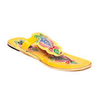 TEN Women's Ethnic Slippers,  yellow, 36