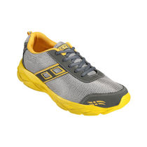 Yepme Men Grey & Yellow Mess & Faux Leather Sports Shoes - YPMFOOT7737, 9