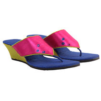Maalpani Bandhej Wedges For Women - MAP09007, multicolor, 10
