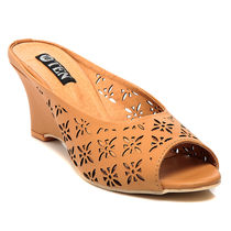 TEN Synthetic Leather Wedges,  tan, 41