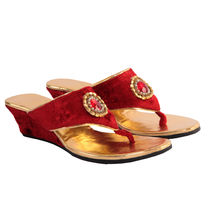 Maalpani Glossy Wedding Wedges For Women - MAP09014, multicolor, 8