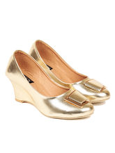 TEN Women's Synthetic Leather Wedges, gold, 39