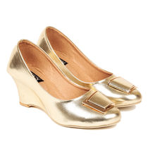 TEN Women's Synthetic Leather Wedges,  gold, 36