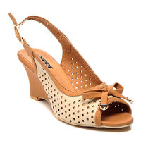 TEN Synthetic Leather Wedges,  beige, 36