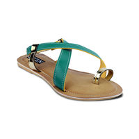 TEN Women's Artificial Leather Sandals, green and beige, 39
