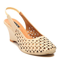 TEN Synthetic Leather Wedges,  beige, 41
