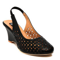 TEN Synthetic Leather Wedges,  black, 37