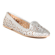 TEN Women's Synthetic Leather Moccasin,  silver, 38