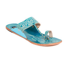 TEN Women's Ethnic Slippers, turquoise, 37