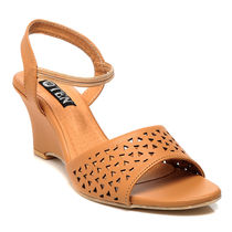 TEN Synthetic Leather Wedges,  tan, 38