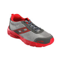 Yepme Men Grey & Red Mess & Faux Leather Sports Shoes - YPMFOOT7736, 7