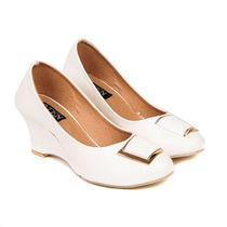 TEN Women's Synthetic Leather Wedges, white, 36