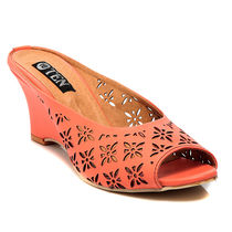 TEN Synthetic Leather Wedges,  orange, 41