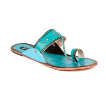 TEN Women's Ethnic Slippers, turquoise, 40
