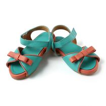 Dchica Chic and Sassy Sandals For Baby Girls, peach and green