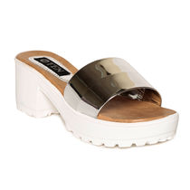 TEN Leather Clogs Heeled Flip-Flop, 39,  grey