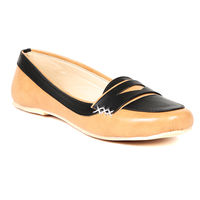 TEN Women's Synthetic Leather Loafers, tan and black, 37