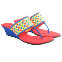 Maalpani Traditional Checks Wedges For Women - MAP09001, multicolor, 9
