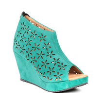 TEN Women's Suede Wedges,  green, 37