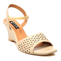 TEN Synthetic Leather Wedges,  beige, 40