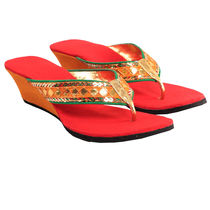 Maalpani Rich Gotta Patti Work Wedges For Women - MAP09020, multicolor, 9