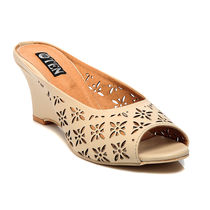 TEN Synthetic Leather Wedges,  beige, 38