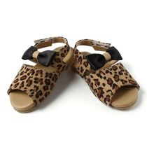 Dchica Animal Print Sandals For Baby Girls, brown and black