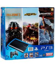 Sony PS3 500GB Slim Console With 3 Free Games (Motorstorm Pacific, Uncharted 2 And Killzone 3), Black