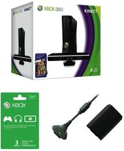 Microsoft Xbox 360 4gb Kinect with 3 Month Card & Play & Charge Kit