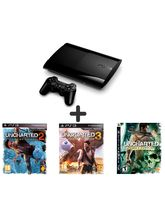 Sony PS3 500GB Slim Console With 3 Free Games (Uncharted 1, Uncharted 2, Uncharted 3) Combo