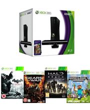 Microsoft Xbox 360 Kinect 4gb with (DLC) Arkham City, (DLC) Minecraft, (DLC) Gears of War, (DLC) Halo Reach